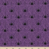 Happy Haunting Spiderwebs Cotton Fabric - Purple