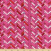 Happy Hearts Chevron Cotton Fabric - Pink T-00260