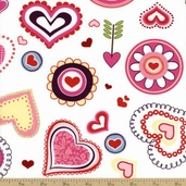 Happy Hearts Cotton Fabric - White T-00255