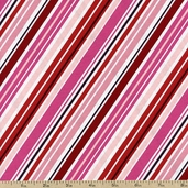 Happy Hearts Happy Stripe Cotton Fabric - Pink T-00259