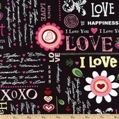 Happy Hearts Word Play Cotton Fabric - Black T-00258