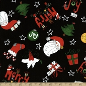 Happy Holly Days Holiday Motifs Cotton Fabric - Black