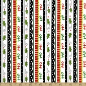 Happy Holly Days Stripe Cotton Fabric - White