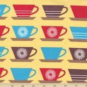 Happy Home Coffee Cotton Fabric - Bright
