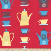 Happy Home Coffee Cotton Fabric - Fiesta