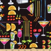 Happy Hour II Tropical Punch Cotton Fabric - Black 05914-12