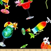 Happy Hour III Cocktail Cotton Fabric - Black