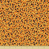 Happy Howloween Cotton Fabric - Candy Corn - Black