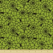 Happy Howloween Cotton Fabric - Cobwebs - Green