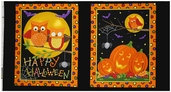 Happy Howloween Cotton Fabric Panel - Black 19550-11 - Clearance