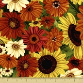 Harvest Abundance Cotton Fabric - Packed Flowers - Multi