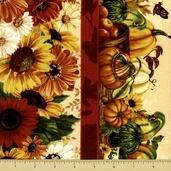 Harvest Abundance Cotton Fabric - Repeating Stripe - Multi