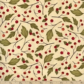 Harvest Fare Leaf Berry Cotton Fabric - Cream