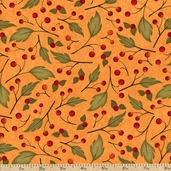 Harvest Fare Leaf Berry Cotton Fabric - Pumpkin