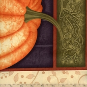 Harvest Fare Pumpkin Cotton Fabric Panel - Cream