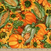 Harvest Feast Cotton Fabric - Brown