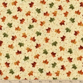 Harvest Song Leaf Dot Cotton Fabric - Natural