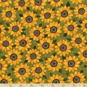 Harvest Song Sunflower Cotton Fabric - Green