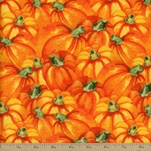 Harvest Tossed Pumpkins Cotton Fabric - Orange