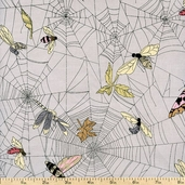 Haunted House A Ghastlie Web Cotton Fabric - Mist