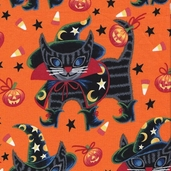 Haunted House Cotton Fabric - Witchy Kitty