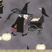 Haunted House Witchy Woman Cotton Fabric - Grey