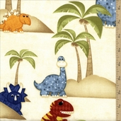 Have You Seen My Dinosaur? Dino Island Cotton Fabric - Sand
