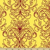 Haven's Edge Cotton Fabric - Yellow Damask - CLEARANCE