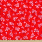 Heart and Soul Hearts Cotton Fabric - Red