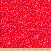 Heart and Soul Swirls Cotton Fabric - Red