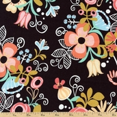 Hello Gorgeous Floral Cotton Fabric - Black 35502