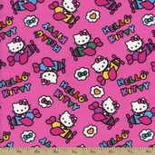 Hello Kitty Airplane Toss Cotton Fabric - Pink