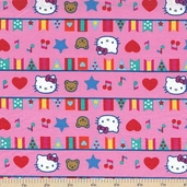 Hello Kitty Big Top Flags Cotton Fabric
