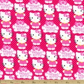 Hello Kitty Cupcake Cotton Fabric - Pink 12184