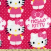 Hello Kitty Cupcake Logo Polyester Fabric - Pink 12158