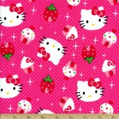 Hello Kitty Cupcake Toss Cotton Fabric - Pink 12184