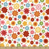 Hello Sunshine Cotton Fabric Flannel - White F3153