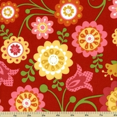 Hello Sunshine Cotton Fabric - Floral Toss - Red C3150