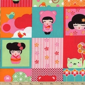 Hello Tokyo Patchwork Cotton Fabric - Sweet