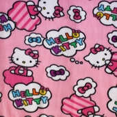 Hello Kitty Clouds And Bows Polyester Fleece Fabric - Pink