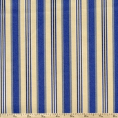 Hennessy Vertical Stripe Cotton Fabric - Cream/Blue