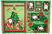 Here Comes Santa Cotton Fabric Panel - CLEARANCE