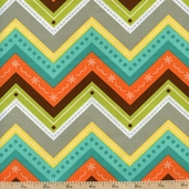 Here Fishy Fishy Chevron Cotton Fabric - Turquoise