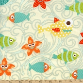 Here Fishy Fishy Swim Party Cotton Fabric - Cream