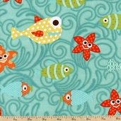 Here Fishy Fishy Swim Party Cotton Fabric - Turquoise