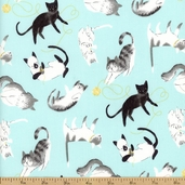 Here Kitty Kitty Toss Organic Cotton Fabric - Light Aqua