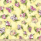Hey Cupcake Cotton Fabric - Medium Floral Yellow