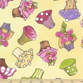 Hey Cupcake Cotton Fabric - Yellow Large Cupcakes