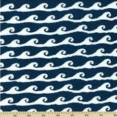High Tide Cotton Fabric - Waves - Blue 5934-B - CLEARANCE