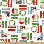 Ho-Ho-Ho Let it Snow Cotton Fabric - White